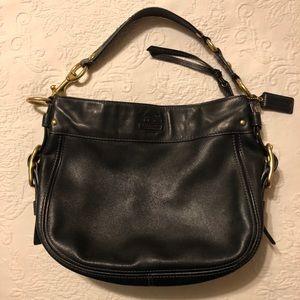 Coach Zoe Black Leather Hobo Shoulder Bag F12671!